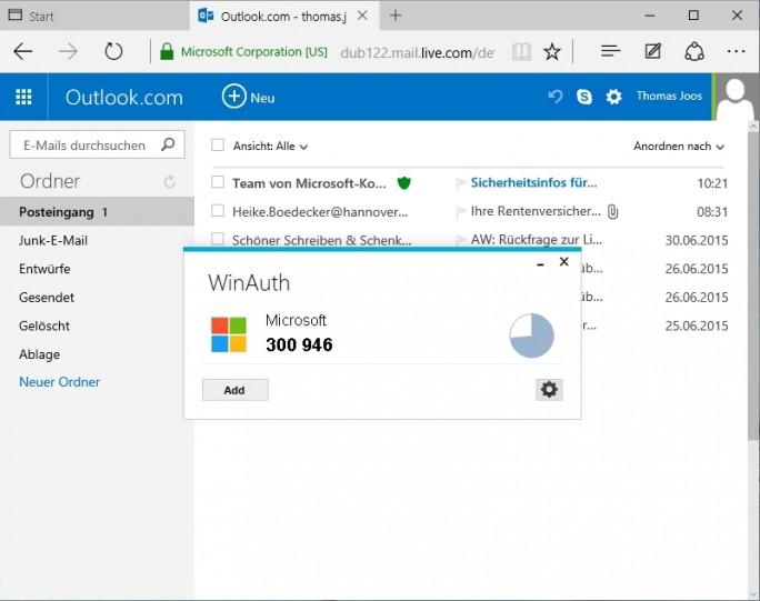 Dienste, die generell nicht immer eine Zwei-Wege-Authentifizierung unterstützen können mit WinAuth abgesichert werden (Screenshot: Thomas Joos).