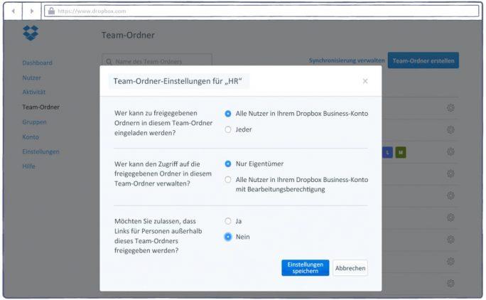 as Berechtigungsmanagement für die neuen Team-Ordner bei Dropbox (Screenshot: Dropbox)