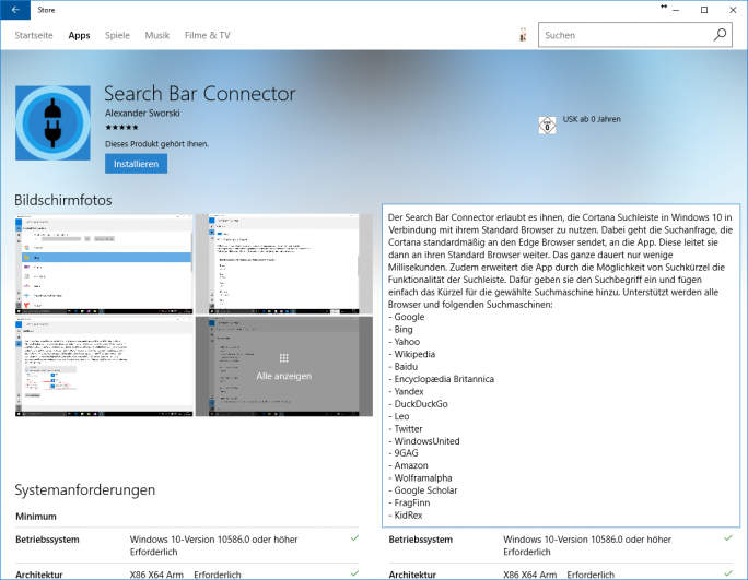 Search Bar Connector (Screenshot: ZDNet.de)
