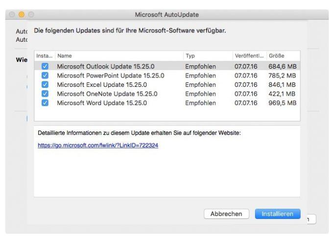 Office für Mac 64-Bit (Screenshot: ZDNet.de)