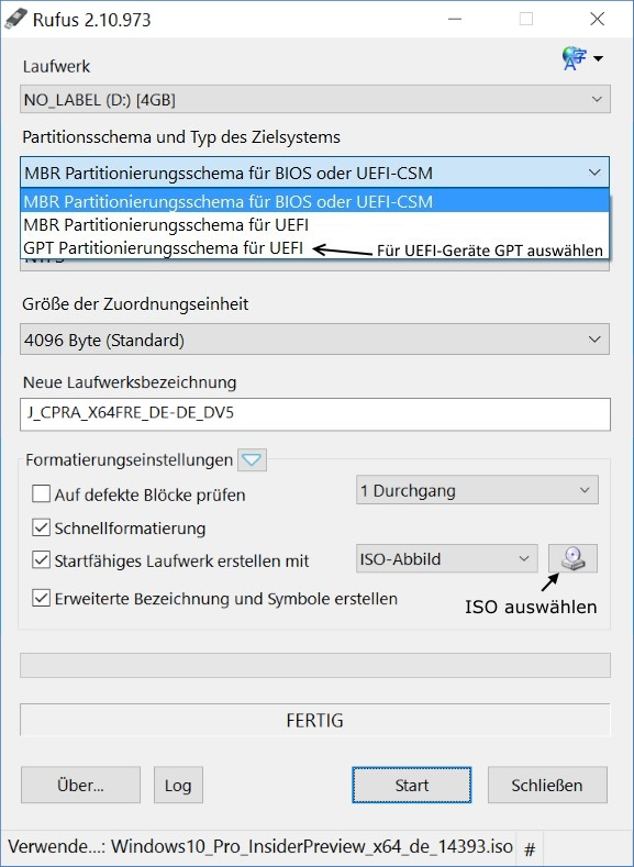 Rufus: ISO auswählen (Bild: ZDNet.de)