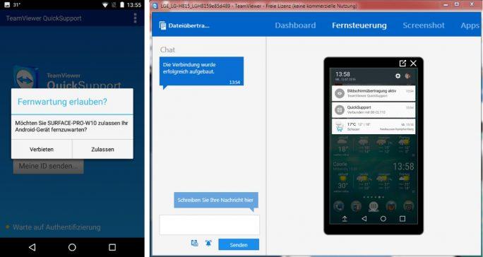 TeamViewer QuickSupport: Nach der Bestätigung startet die Fernsteuerung (Bild: ZDNet.de)