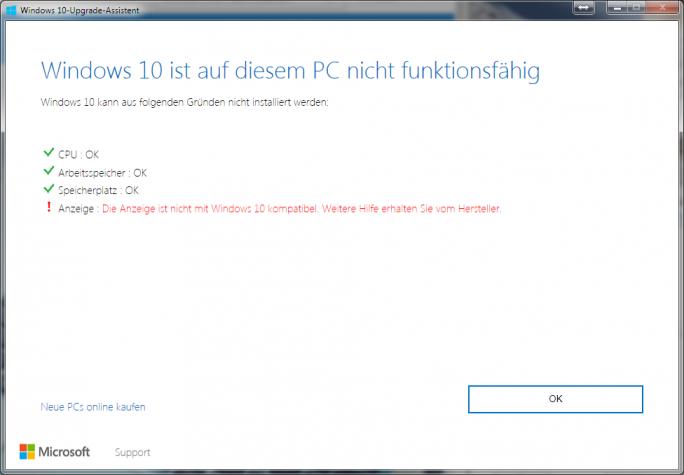 Windows 10 Upgrade Assistent: Grafiktreiber (Bild: ZDNet.de)