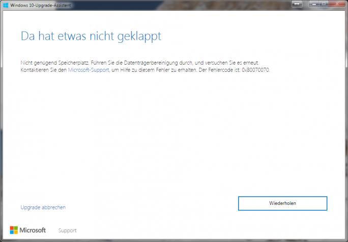 Windows 10 Upgrade Assistent: Speicherplatz (Bild: ZDNet.de)