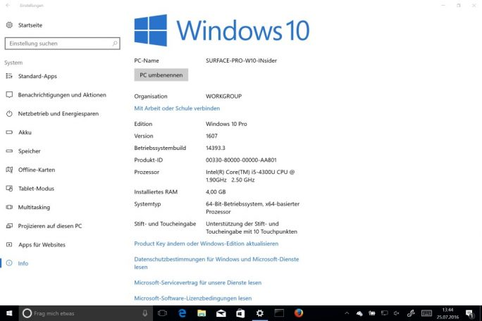 Windows 10 Anniversary Update 16.07 Build 14393.3 (Screenshot: ZDNet.de)