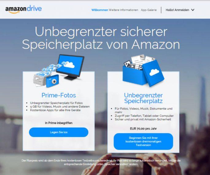 Amazon bietet mit Amazon Drive für 70 Euro   im Jahr unbegrenzten Speicherplatz (Screenshot: ZDNet.de)