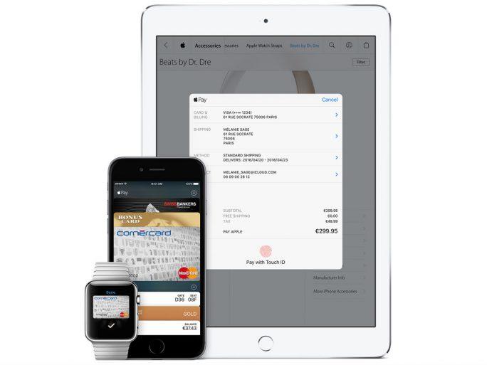 Für Zahlungen via Apple Pay wird ein aktuelles iPhone beziehungsweise iPad mit Touch-ID-Sensor oder eine Apple Watch benötigt (Bild: Apple).