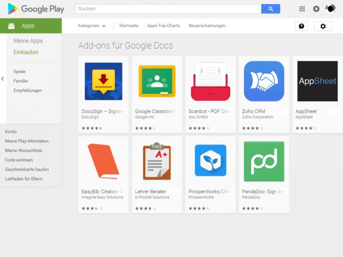 Google bietet im Play Store ab sofort Add-ins für Google Docs und Tabellen an (Screenshot: ZDNet.de).