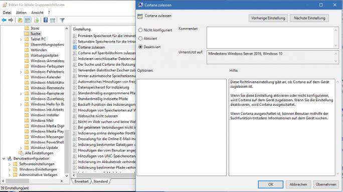 "gpedit.msc: Cortana zulassen auf ""deaktiviert"" einstellen (Screenshot: ZDNet.de)"