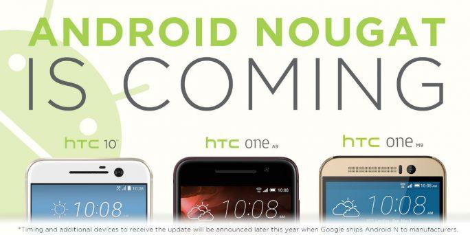 HTC hat ein Update auf Android 7.0 Nougat für seine Smartphone-Modelle HTC 10, One M9 und One A9 angekündigt (Bild: HTC).