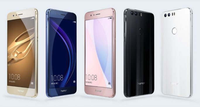 Das Honor 8 wird in China in den Farben Gold, Blau, Pink, Schwarz und Weiß angeboten (Bild: Huawei).