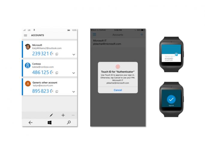 Microsoft überarbeitet seine Authenticator-App für Windows 10 Mobile, Android und iOS (Bild: Microsoft).
