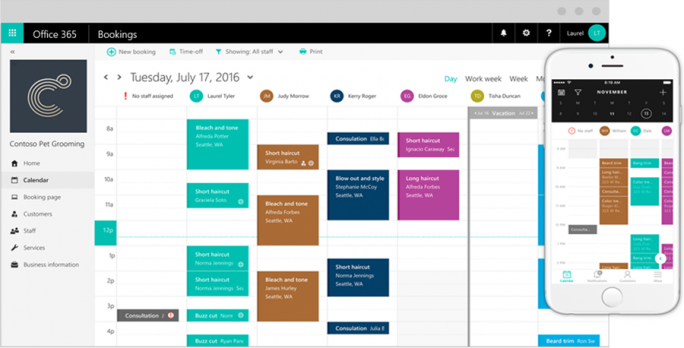 Die firmeninterne Ansicht von Microsoft Bookings am Beispiel eines Tierfriseurgeschäfts mit fünf Mitarbeitern. (Screenshot: Microsoft)