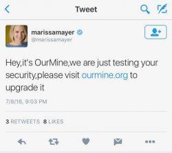 OurMine setzte nach dem Hack von Marissa Mayers Twitter-Konto gefälschte Nachrichten ab (Screenshot: ZDNet.com).