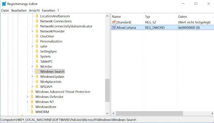 regedit: Cortana und Websuche ausschalten (Bild: ZDNet.de)