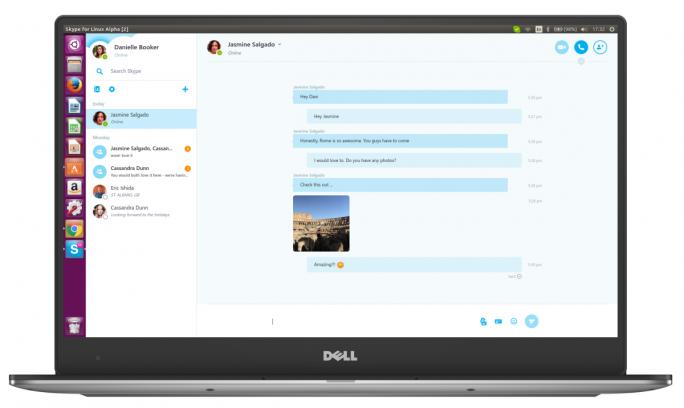 Der auf WebRTC basierende Skype-Client  für Linux liegt aktuell als Alpha vor (Bild: Microsoft).