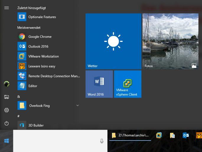 Das Startmenü wurde für das Anniversary Update angepasst (Screenshot: Thomas Joos).