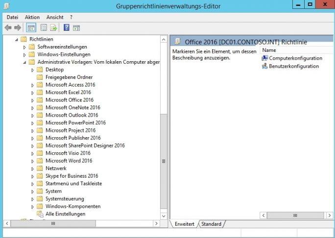 Nachdem die Gruppenrichtlinienvorlagen importiert sind, können Administratoren zentral Sicherheit-Einstellungen für Windows 10 und für Office 2016 vorgeben (Screenshot: Thomas Joos).