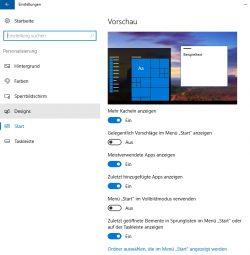 Das neue Startmenü lässt sich erweitern. Die Ordner zur Anzeige im Startmenü können über die Einstellungen gesteuert werden (Screenshot: Thomas Joos).