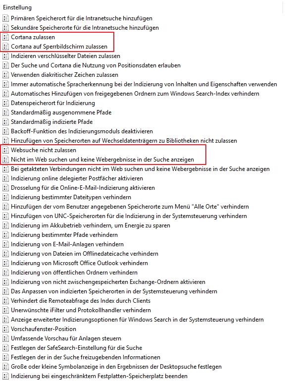 Cortana lässt sich auch mit dem Anniversary Update über Gruppenrichtlinien zähmen (Screenshot: Thomas Joos).