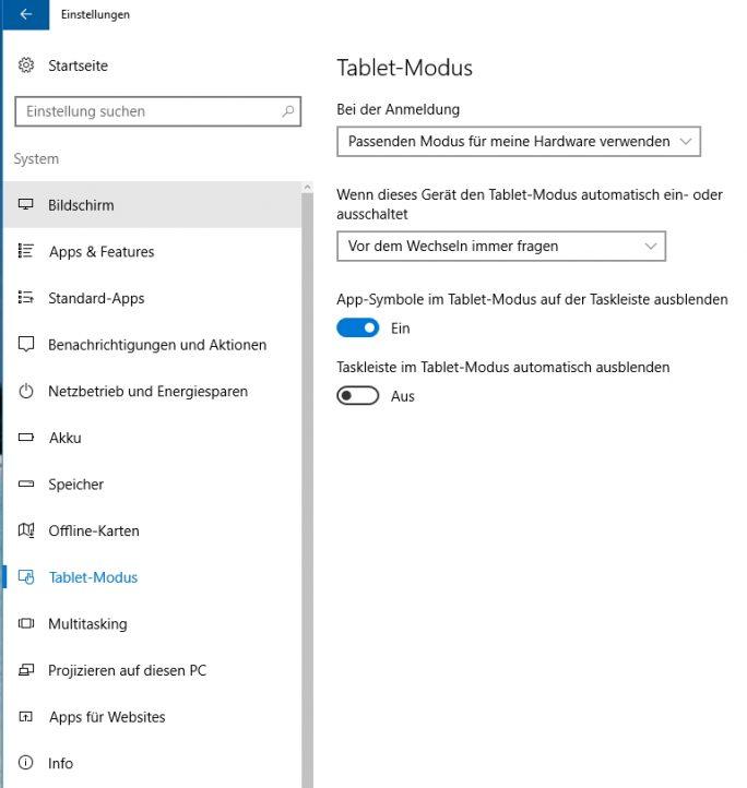 Der Tablet-Modus erlaubt das Ausblenden der Taskleiste und weitere Einstellungen (Screenshot: Thomas Joos).