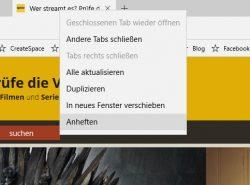 In Microsoft Edge lassen sich Webseiten anheften und so dauerhaft automatisch öffnen (Screenshot: Thomas Joos).