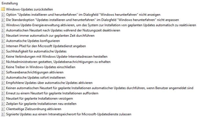 Windows 10 bietet auch mit dem Anniversary Update zahlreiche Einstellungen für die Konfiguration von Updates und der Anbindung an WSUS (Screenshot: Thomas Joos).