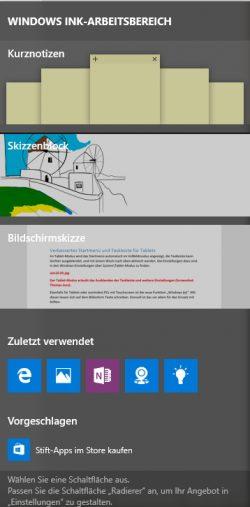 Mit Windows Ink können Anwender mit ihrem Stift auf Touchscreens und Tablets auch schreiben (Screenshot: Thomas Joos).