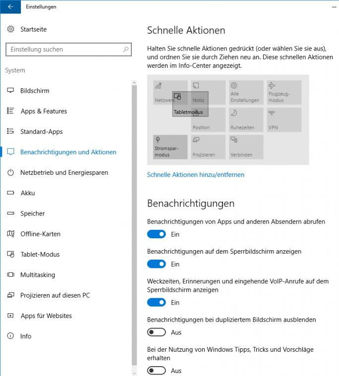 Die schnellen Aktionen im Info-Center lassen sich besser anpassen (Screenshot: Thomas Joos).