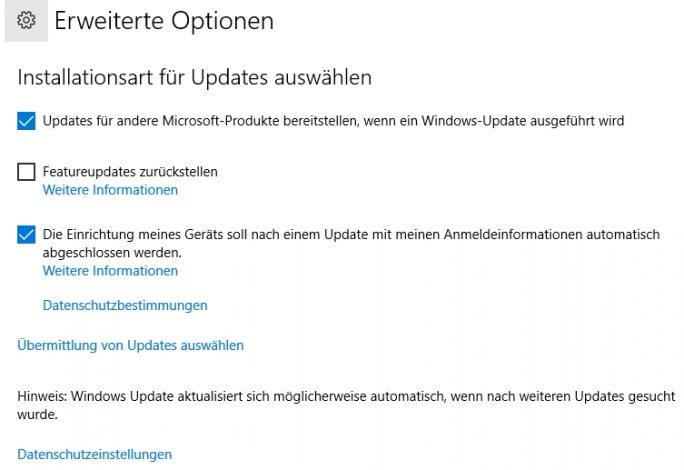 In den erweiterten Optionen der Update-Einstellungen lässt sich festlegen, dass Windows 10 automatisch angemeldet wird, wenn die Aktualisierung abgeschlossen ist (Screenshot: Thomas Joos).