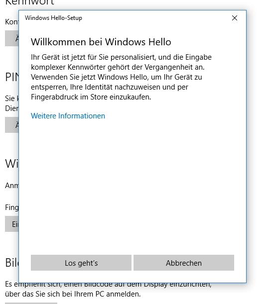Windows Hello wird im Anniversary Update aufgebohrt und enger mit Microsoft Edge verknüpft (Screenshot: Thomas Joos).