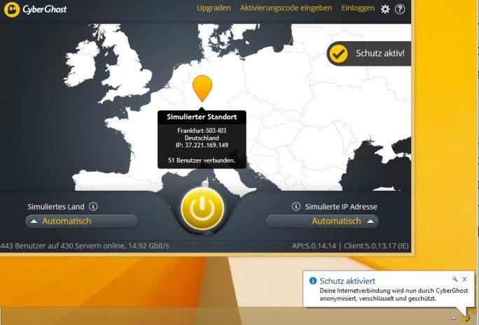 Mit CyberGhost lassen sich Windows-Rechner ebenfalls recht zuverlässig vor Angreifern aus dem Hotspot schützen (Screenshot: Thomas Joos).