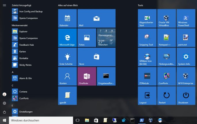 Windows 10: Angepasstes Startmenü (Bild: ZDNet.de)