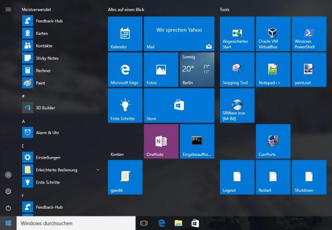 Windows 10: Startmenü anpassen (Bild: ZDNet.de)