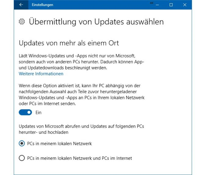 Windows 10: Updates von mehr als einem Ort (Screenshot: ZDNet.de)