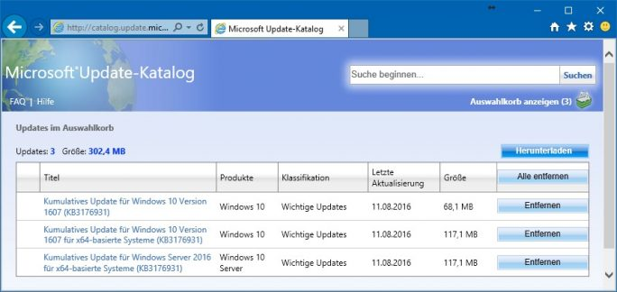 Windows 10: Download von CAB-Dateien über Windows Update Catalog (Bild: ZDNet.de)