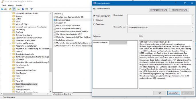 GPEDIT: Übermittlungsoptimierung (Screenshot: ZDNet.de)
