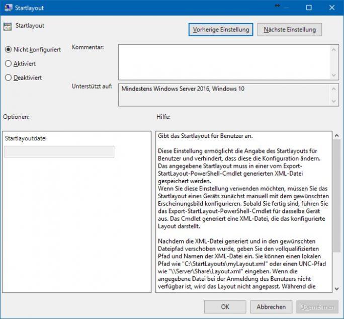 Startmenü für alle Nutzer: Startmenü-Layout über GPEDIT aktivieren (Bild: ZDNet.de)