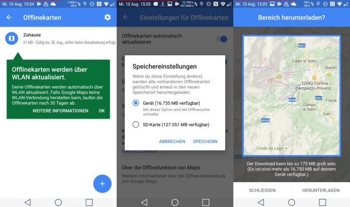 Google Maps 9.34.1 (Bild: ZDNet.de)