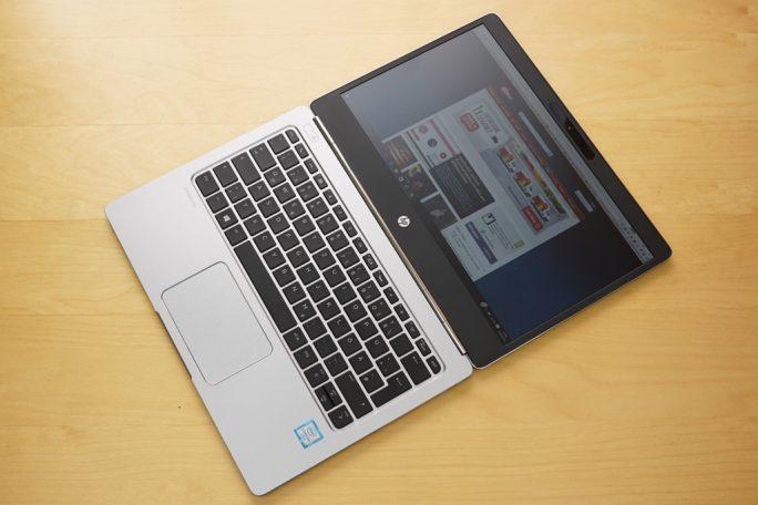 HP EliteBook Folio G1 flach aufgeklappt (Bild: ZDNet).