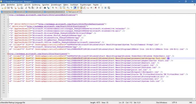 Startmenü für alle Nutzer: Layout-Konfigurationsdatei anpassen (Bild: ZDNet.de)