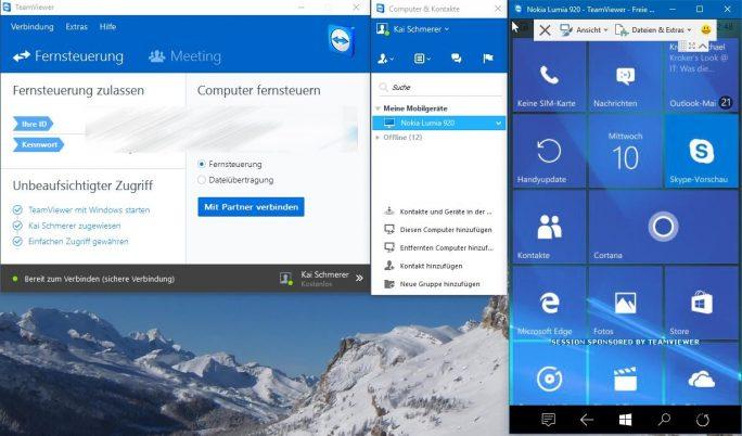 TeamViewer QuickSupport Preview unterstützt die Fernwartung und -steuerung von Windows 10 Mobile-Geräten (Screenshot: ZDNet.de).