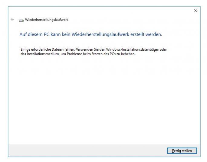 Ist das Win Recovery Environment (WinRE) nicht aktiivert, lassen sich bestimmte Funktionen wie die Erstellungs eines Wiederherstellungslaufwerks nicht mehr nutzen (Bild: ZDNet.de)