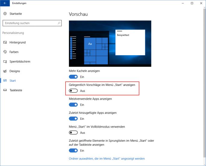 Windows 10: App-Vorschläge deaktivieren (Bild: ZDNet.de)