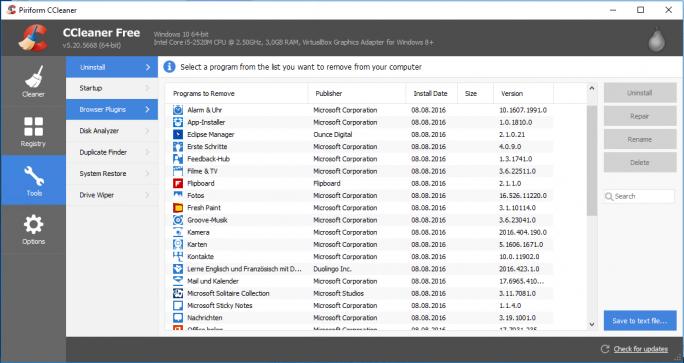 Windows 10: CCleaner löscht vorinstallierte Apps (Bild: ZDNet.de)