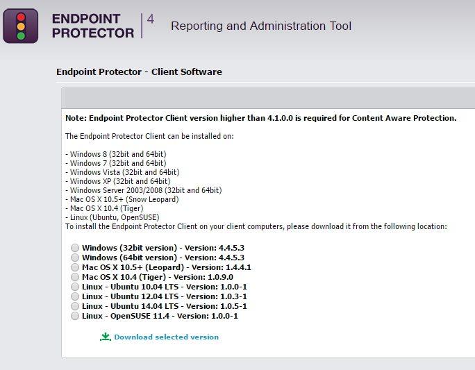 Über die Weboberfläche kann der Client zur Anbindung an Endpoint Protector heruntergeladen und installiert werden (Screenshot: Thomas Joos).