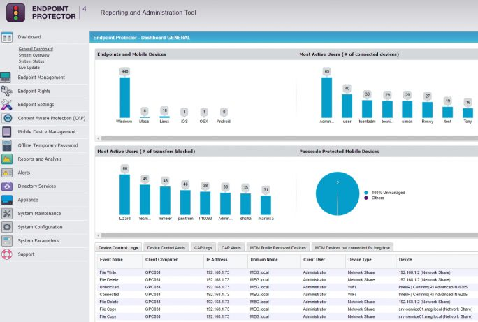 Endoint Protector kann unberechtigten Umgang mit heiklen Dateien im Unternehmen verhindern (Screenshot: Thomas Joos).