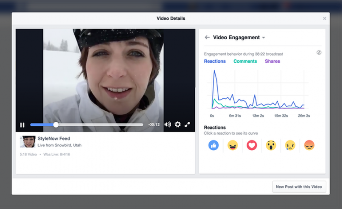 Interaktion mit einem Facebook-Live-Video über die Zeit (Screenshot: Facebook)