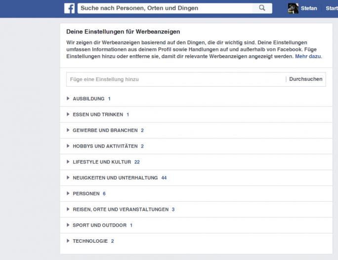 Nutzer können nun festlegen, zu welchen Themen sie Werbung auf Facebook sehen wollen (Screenshot: ZDNet.de).