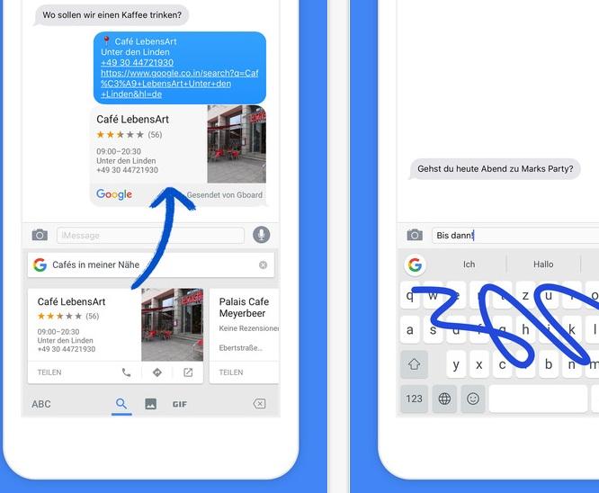 Google Gboard im Einsatz (Screenshot: ZDNet.de bei iTunes)